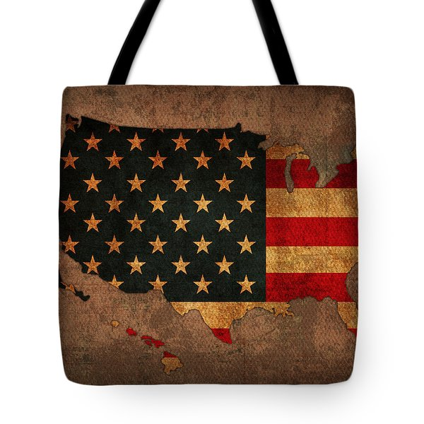 Map Of America United States Usa With Flag Art On Distressed Worn Canvas Tote Bag by Design Turnpike