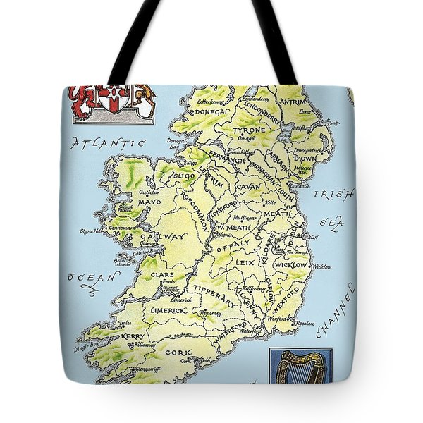Map Of Ireland Tote Bag by English School