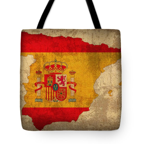 Map Of Spain With Flag Art On Distressed Worn Canvas Tote Bag by Design Turnpike