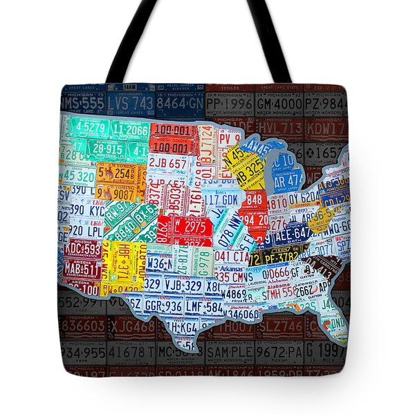 Map Of The United States In Vintage License Plates On American Flag Tote Bag by Design Turnpike