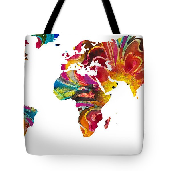 Map of The World 2 -Colorful Abstract Art Tote Bag by Sharon Cummings