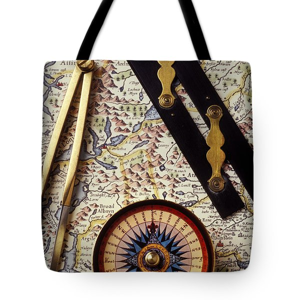 Map With Compass Tools Tote Bag by Garry Gay