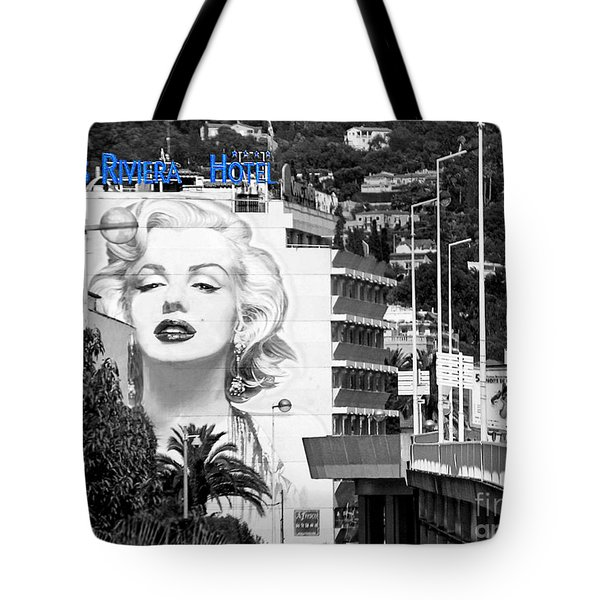 Marilyn In Cannes Tote Bag by Jennie Breeze