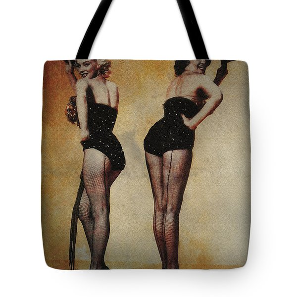 Marilyn Monroe And Jane Russell Tote Bag by EricaMaxine  Price