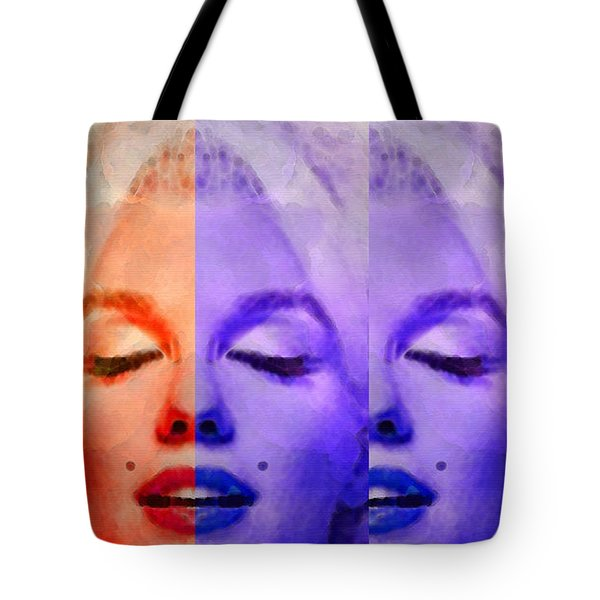 Marilyn Monroe - Living Color by Sharon Cummings Tote Bag by Sharon Cummings