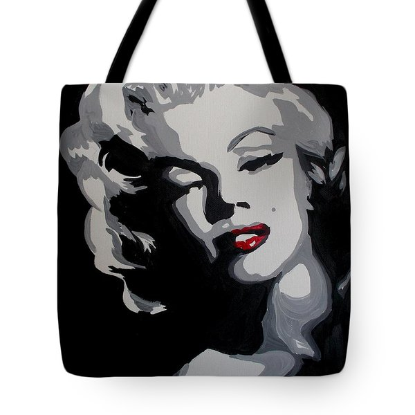 Marilyn Monroe Red Lips Tote Bag by Marisela Mungia