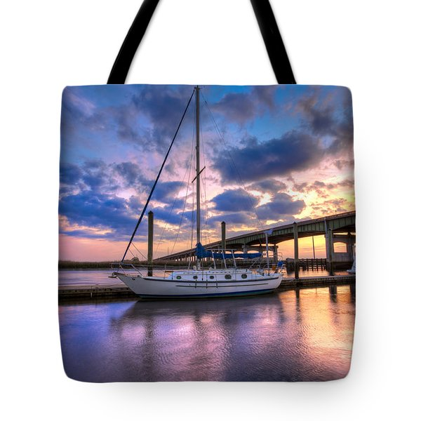 Marina At Sunset Tote Bag by Debra and Dave Vanderlaan