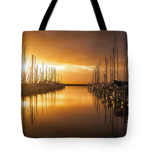 Marina Golden Sunset Tote Bag by Mike Reid