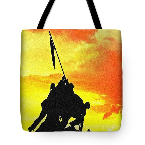 Marine Iwo Jima Memorial Dc Tote Bag by Bob and Nadine Johnston