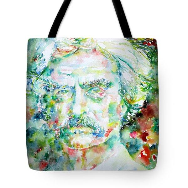 Mark Twain - Watercolor Portrait Tote Bag by Fabrizio Cassetta