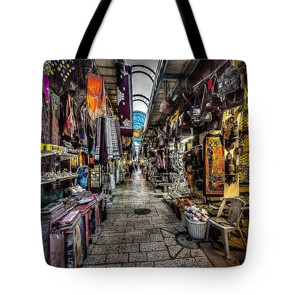 Market In The Old City Of Jerusalem Tote Bag by David Morefield