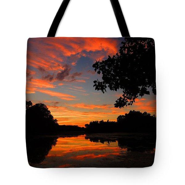 Marlu Lake At Sunset Tote Bag by Raymond Salani III