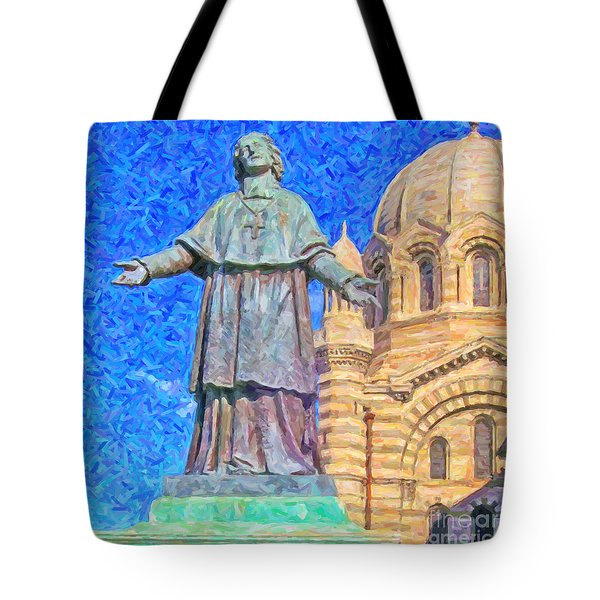 Marseille Cathedral Painting Tote Bag by Antony McAulay