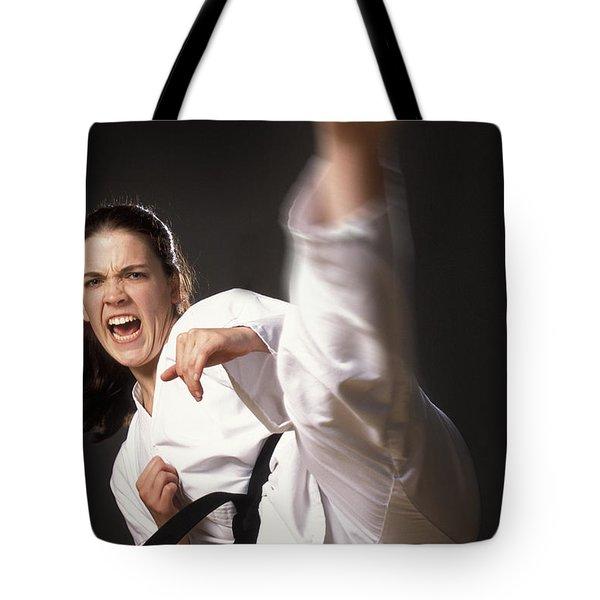 Martial Arts Kick Tote Bag by Don Hammond