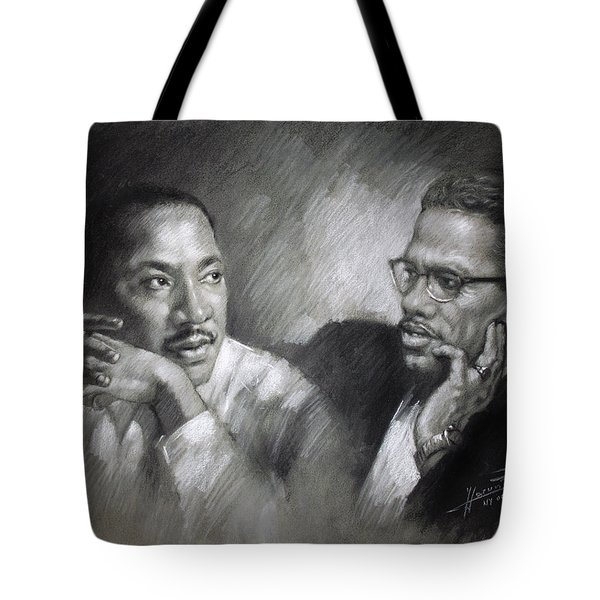 Martin Luther King Jr and Malcolm X Tote Bag by Ylli Haruni