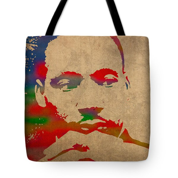 Martin Luther King Jr Watercolor Portrait on Worn Distressed Canvas Tote Bag by Design Turnpike