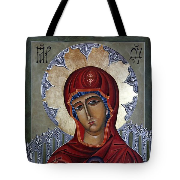 Mary Of The Burning Bush Tote Bag by Mary jane Miller