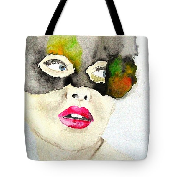 Mask In Watercolor Tote Bag by Jacqueline Schreiber