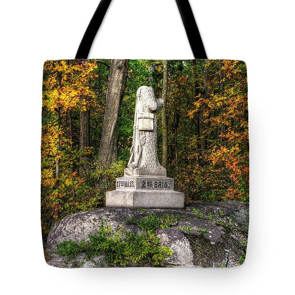 Massachusetts At Gettysburg - 37th Mass. Infantry Autumn Early-evening Sedgwick Avenue Tote Bag by Michael Mazaika