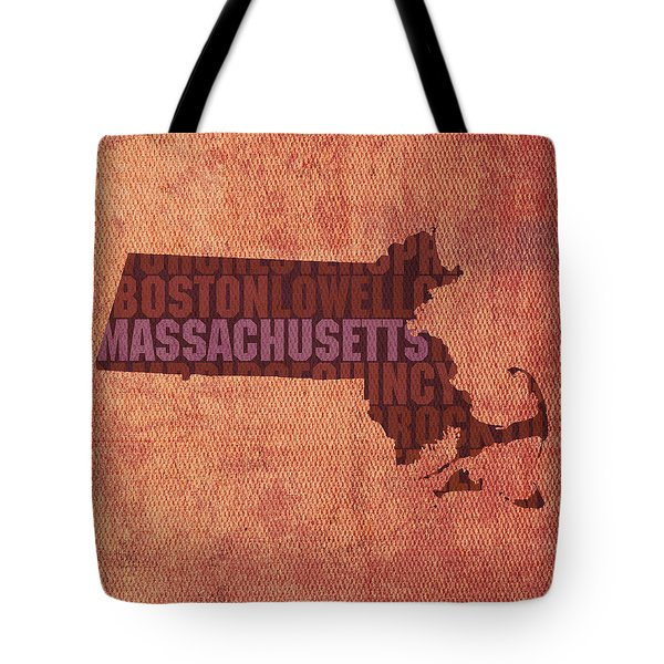Massachusetts Word Art State Map On Canvas Tote Bag by Design Turnpike