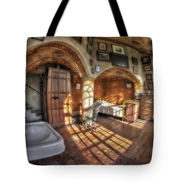 Master Bedroom At Fonthill Castle Tote Bag by Susan Candelario