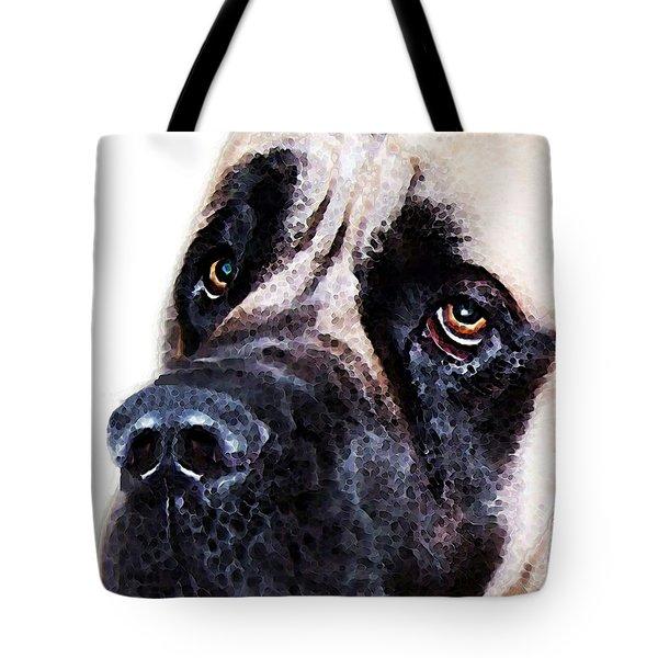 Mastiff Dog Art - Sad Eyes Tote Bag by Sharon Cummings
