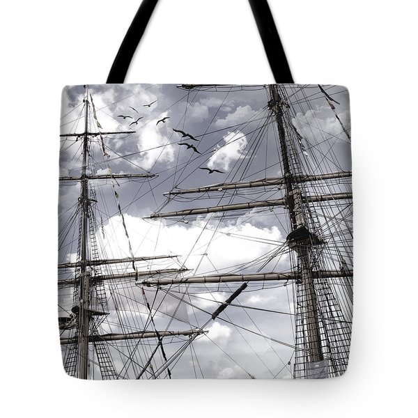 Masts Of Sailing Ships Tote Bag by Evie Carrier