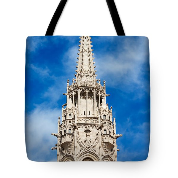 Matthias Church Bell Tower In Budapest Tote Bag by Artur Bogacki