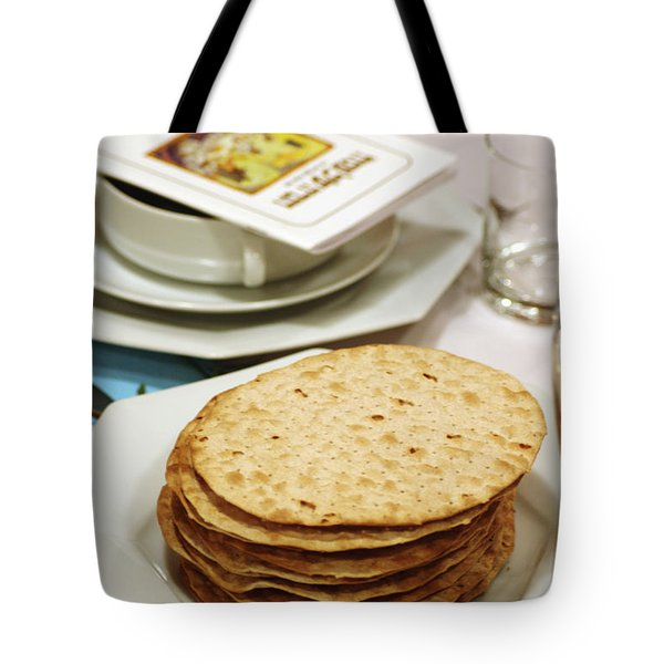 Matza And Haggada For Pesach Tote Bag by Ilan Rosen