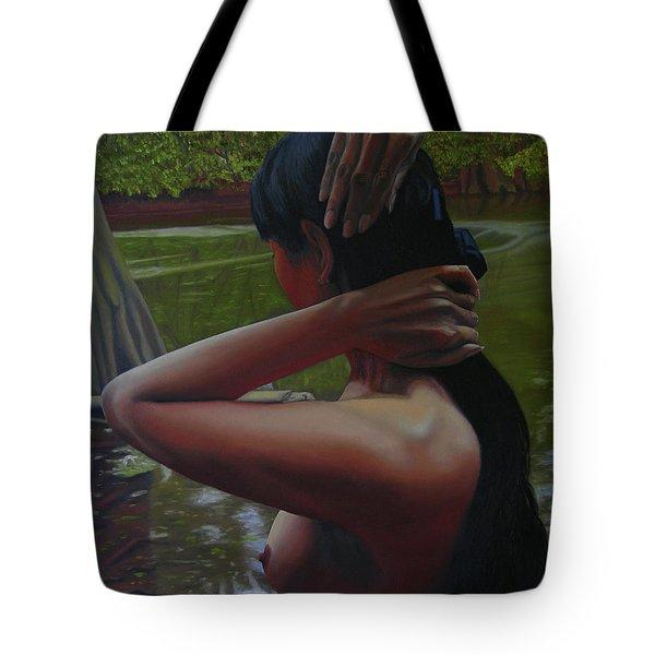 May Morning Arkansas River 6 Tote Bag by Thu Nguyen