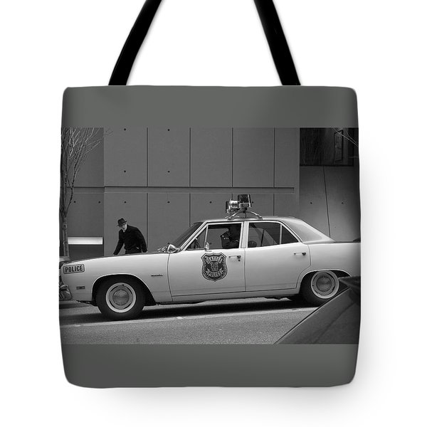 Mayberry Meets Seattle - vintage police cruiser Tote Bag by Jane Eleanor Nicholas