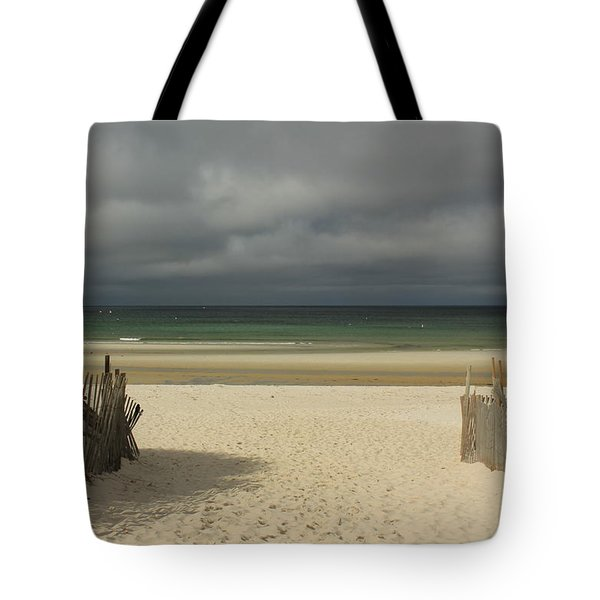 Mayflower Beach Storm Tote Bag by Amazing Jules