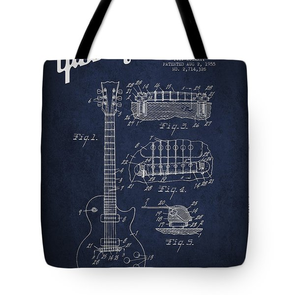 Mccarty Gibson Les Paul guitar patent Drawing from 1955 - Navy Blue Tote Bag by Aged Pixel