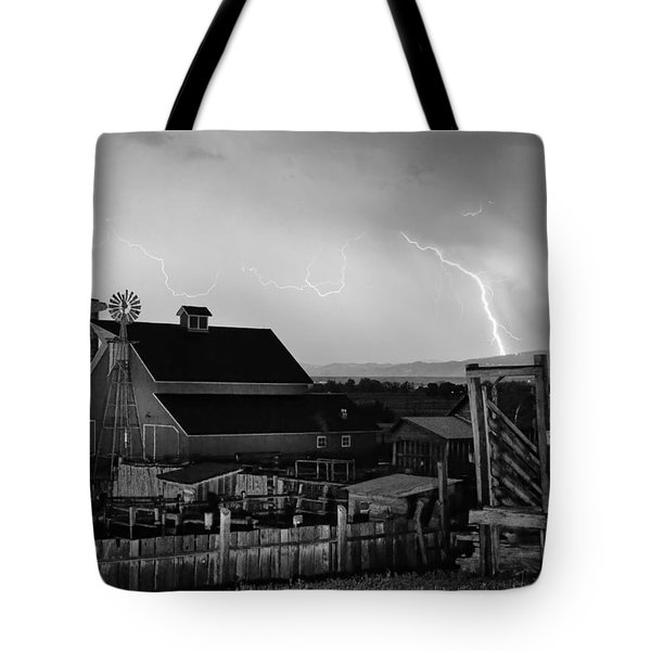Mcintosh Farm Lightning Thunderstorm Black And White Tote Bag by James BO  Insogna