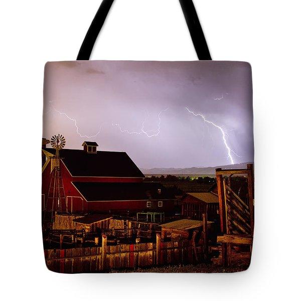 Mcintosh Farm Lightning Thunderstorm Tote Bag by James BO  Insogna