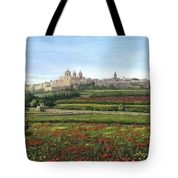 Mdina Poppies Malta Tote Bag by Richard Harpum