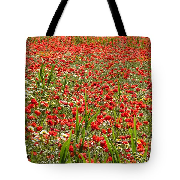 Meadow Covered With Red Poppies Tote Bag by Jose Elias - Sofia Pereira