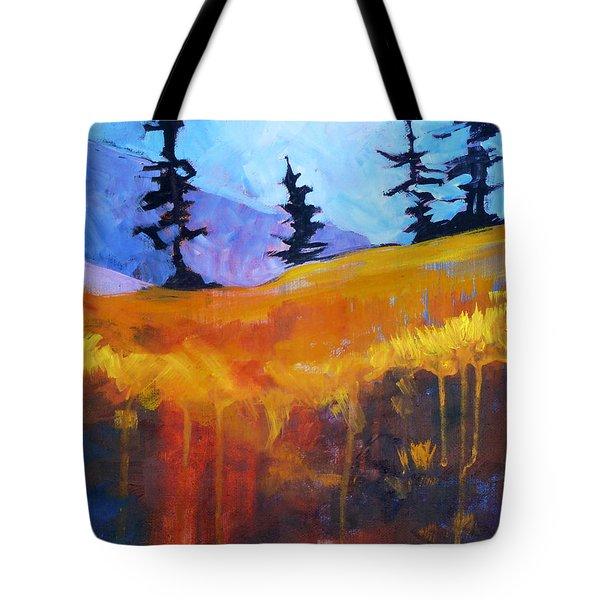 Meadow Mountain Tote Bag by Nancy Merkle