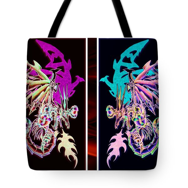 Mech Dragons Pastel Tote Bag by Shawn Dall
