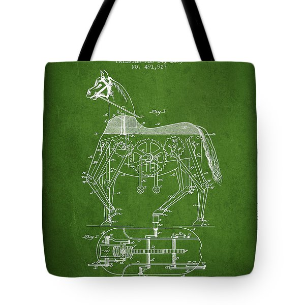 Mechanical Horse Patent Drawing From 1893 - Green Tote Bag by Aged Pixel
