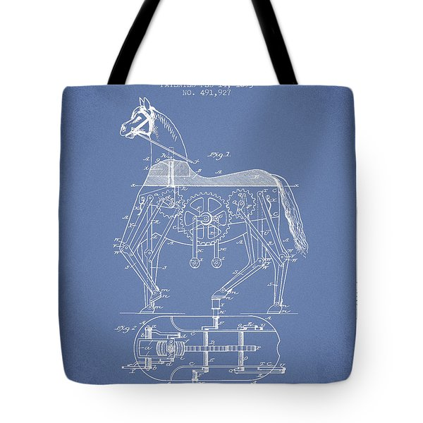 Mechanical Horse Patent Drawing From 1893 - Light Blue Tote Bag by Aged Pixel
