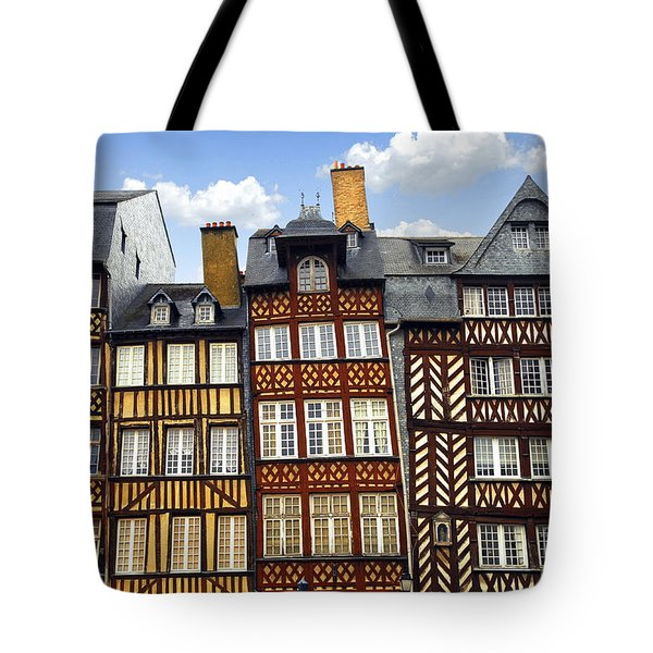 Medieval houses in Rennes Tote Bag by Elena Elisseeva