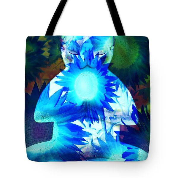 Meditation Kitty / Midnight Meditations On The Blue Sunflower Tote Bag by Elizabeth McTaggart