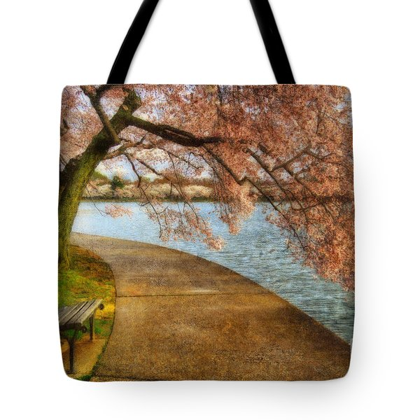 Meet Me At Our Bench Tote Bag by Lois Bryan