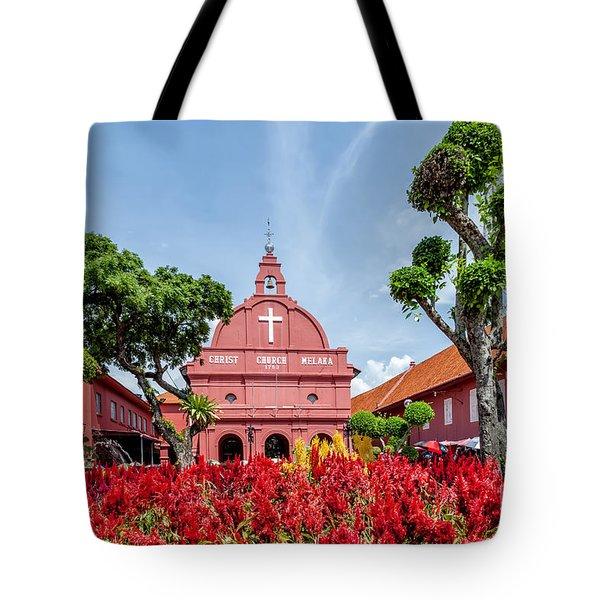 Melaka Red Square Tote Bag by Adrian Evans
