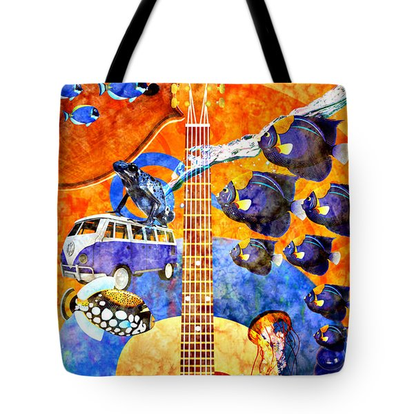 Melodies And Sunset Seas Tote Bag by Ally  White