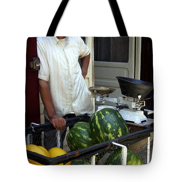 Melon Seller Old Medina Fez Morocco Tote Bag by Ralph A  Ledergerber-Photography