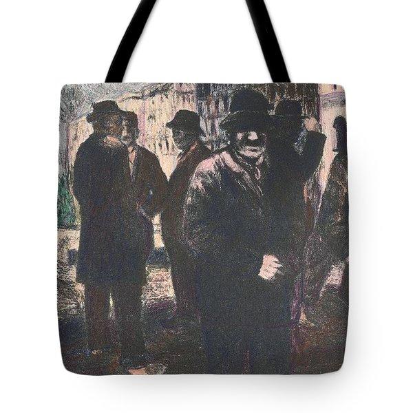 Men In Yellow Light Tote Bag by Kendall Kessler