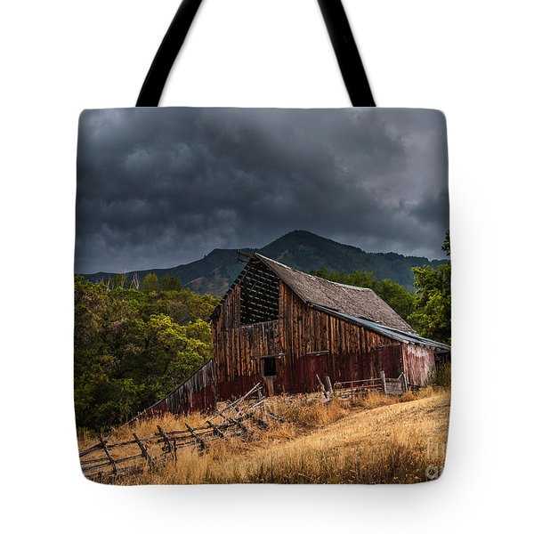 Mendon Utah Barn In Storm Tote Bag by Gary Whitton