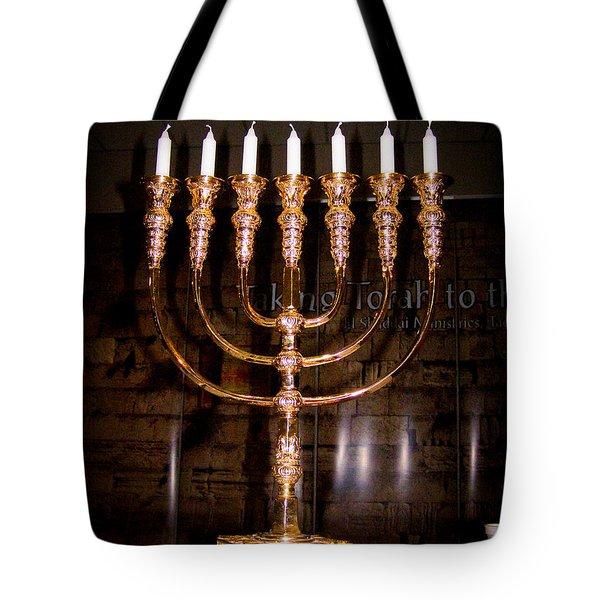 Menorah Tote Bag by Roger Reeves  and Terrie Heslop